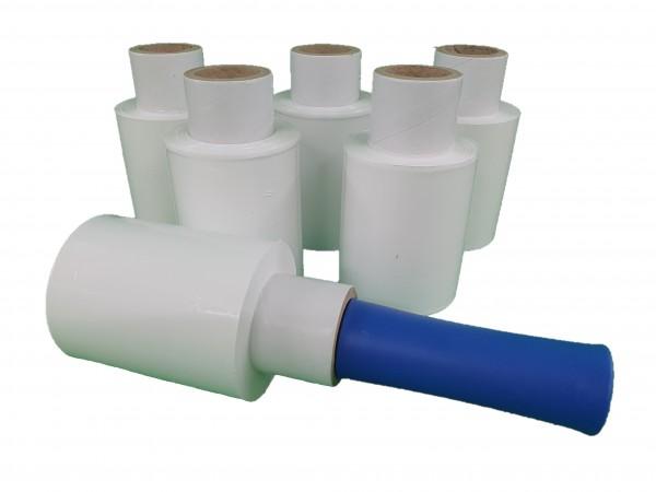 6x Mini Rollen 10 cm Stretchfolie 23 my (weiß) + Abroller