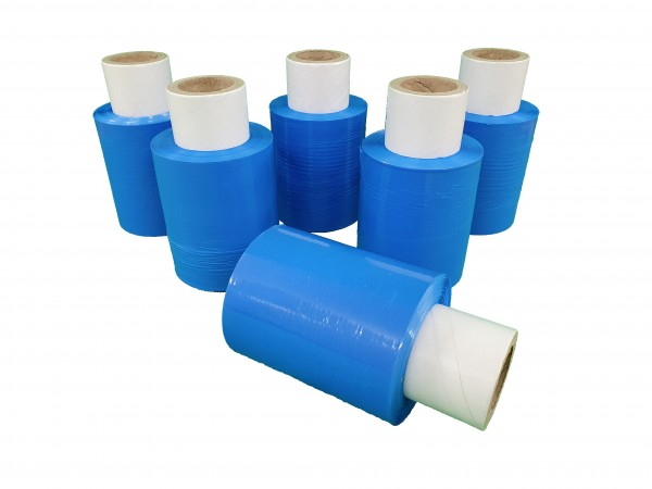 6x Mini Rollen 10 cm Stretchfolie 23 my (blau)