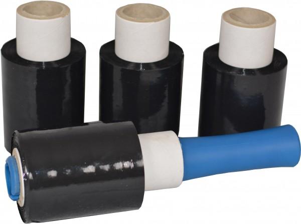 6x Mini Rollen 10 cm Stretchfolie 23 my (schwarz) + Abroller